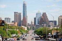 Austin Skyline driving up South Congress.