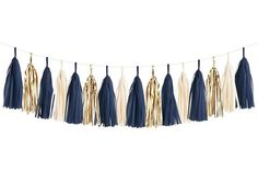 This navy & gold tissue garland will make a statement at your grad party, bachelorette party, or wedding shower! Graduation Tassel, Graduation Party Decor, Grad Parties, Graduation Cake, Graduation Ideas, Navy Birthday, Gold Birthday Party, 20th Birthday, Birthday Ideas