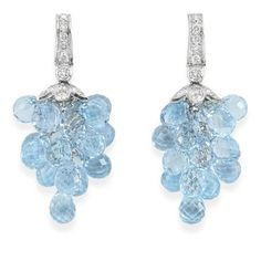 Pair of Diamond and Blue Topaz Pendant-Earrings for Sale at Auction on Tue, - - Important Estate Jewelry Silver Jewelry, Lotus Jewelry, Pendant Earrings, Blue Topaz, Jewelery, Gemstones, Diamond, Sparkles, Fashion Ideas