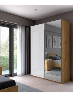 Buy Mirror/Bianco Oak John Lewis & Partners Elstra Wardrobe with Mirrored Sliding Doors from our Wardrobes range at John Lewis & Partners. Sliding Door Wardrobe Designs, Wardrobe Doors, Built In Wardrobe, Wardrobe With Mirror, Small Bedroom With Wardrobe, Mirrored Wardrobe, Bedroom Cupboard Designs, Wardrobe Design Bedroom, Bedroom Furniture Design