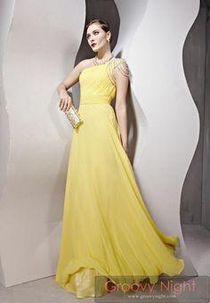 自分だけの個性で勝負したいなら 綺麗なレモンイエローロングドレス♪     - ロングドレス・パーティードレスはGN|演奏会や結婚式に大活躍!