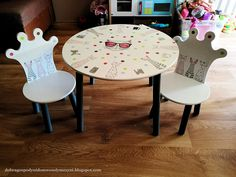 jak odnowić stolik dla dziecka?  Decoupage na meblach Decoupage, Dining Table, Diy, Furniture, Home Decor, Decoration Home, Bricolage, Room Decor, Dinner Table