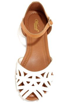 Cute White Sandals - Color Block Shoes - Cutout Sandals - $41.00