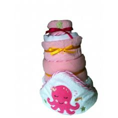 4 Tier Girls Nappy Cake | Baby Gifts and Baby Baskets. #Shower #cake, #ideas for baby, #girl baby gift. http://www.heritagehampers.com/gift-types/baby-gifts-nappy-cakes/4-tier-girls-nappy-cake---baby-gifts