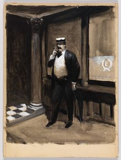 Edward Hopper: (Study of a Man with Hat and Cane Smoking a Cigar) 1900 American Realism, American Artists, Manet, Toulouse, Edward Hopper Paintings, Ashcan School, Whitney Museum, Unusual Art, Hats For Men