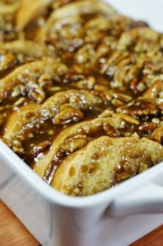 Overnight Praline French Toast ~ a decadently delicious assemble-ahead brunch or breakfast treat! What's For Breakfast, Christmas Breakfast, Breakfast Items, Breakfast Dishes, Breakfast Recipes, Dessert Recipes, Desserts, Breakfast Casserole, Christmas Morning