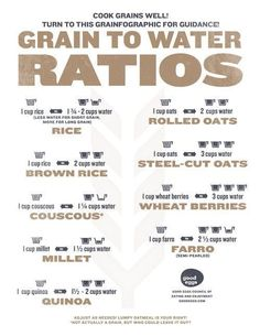 Grain to Water Ratios - 34 Creative Kitchen Hacks Cooking Photos, Cooking 101, Cooking Recipes, Healthy Recipes, Cooking Hacks, Cooking Websites, Basic Cooking, Cooking Turkey, Cooking Rice