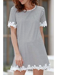 Trimming Striped Short Sleeve T-Shirt Dress - WHITE S