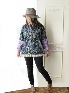 Oversize paisley shirt vintage lace mixed print one by ButterCatCo