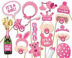 Baby Shower Photo Props It's a Girl Photo Booth por Instantgraffix