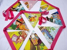 recycled storybook bunting!