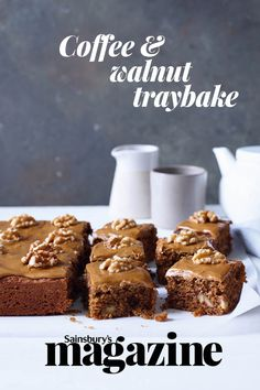 This coffee and walnut traybake recipe is an easy single-layer cake without a fiddly filling – just cut into squares and enjoy! See our tip to make it gluten free Tray Bake Recipes, Cake Recipes, Dessert Recipes, Baking Recipes Uk, Coffee And Walnut Cake, Coffee Cake, Traybake Cake, Bakewell Traybake, Brownies
