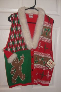 cc27665e8394 UGLY CHRISTMAS SWEATER VEST SLEEVELESS GINGERBREAD MAN MIDDLE FINGER ADULT  XL #SPENCERS #UGLYCHRISTMASSWEATERVEST