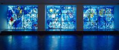"Marc Chagall  French, born Vitebsk, Russia (present-day Belarus), 1887–1985    America Windows, 1977    Stained glass  96 x 385 in. (244 x 978 cm) (overall)  Signed, each pair, l.r.: ""MArc ChAgAll/Reims/1977""    A gift of Marc Chagall, the City of Chicago, and the Auxiliary Board of The Art Institute of Chicago, commemorating the American Bicentennial in memory of Mayor Richard J. Daley, 1977.938    © 2013 Artists Rights Society (ARS), New York / ADAGP, Paris"