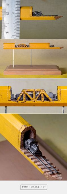 A Carved Graphite Train on Tracks Emerges from Inside a Carpenter's Pencil | Colossal - created via https://pinthemall.net #Carpenterpencil