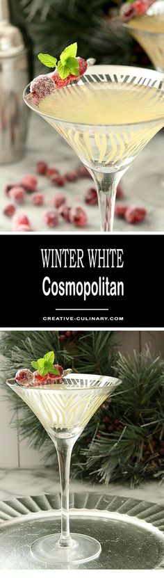 This Winter White Cosmopolitan is a seasonal variation of the ever popular Cosmo; it's equally delicious and especially beautiful during the holidays! via @creativculinary