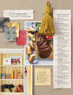 MSL - September 2010    Art direction, styling and design for the Table of Contents page for Martha Stewart Living, September 2010 issue. Photograph by Aaron Dyer.