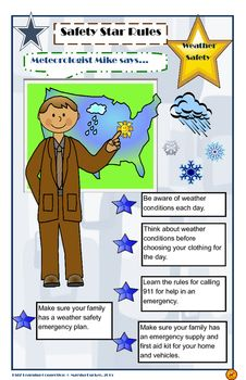 Meteorologist Mike presents rules and goals for weather safety! This is a great poster for your classroom to serve as a reminder during the year. Featured rules include: weather conditions, dressing for the weather, safety kits, first aid kits, weather emergency plans and calling 911.Ideas for Classroom Use1.