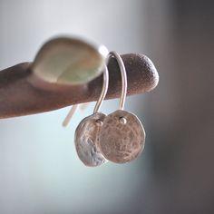 Sterling silver earrings Hammered drops dangle by oblissjewellery, $22.00