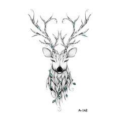 Wyuen Hot Designs Deer Temporary Tattoo For Adult Man Woman Waterproof Hand Fake Tatoo Sticker Elk Animal Body Art Kunst Tattoos, Body Art Tattoos, Tatoos, Tree Tattoos, Cross Tattoos, Hirsch Tattoo Frau, Temporary Tattoos For Adults, Deer Tattoo, Deer Antler Tattoos