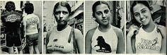 A moda da publicidade chega ao Brasil. Anúncios são estampados nas roupas. - 1973