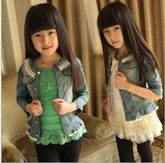2013 New Fashion Autumn Winter Kids baby clothing Girls Denim Jeans coat/kids dress coat/children's outerwear Free Shipping $18.99