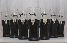 Neat idea - Men of the wedding have beer glasses