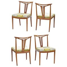 American Modern Chair Quad with T-Back Splats | From a unique collection of antique and modern dining room chairs at https://www.1stdibs.com/furniture/seating/dining-room-chairs/