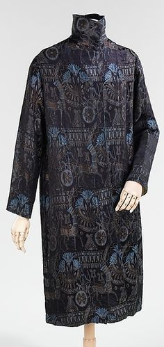 Art Deco Egyptian Revival evening coat, c. 1928, American, sik and metal, length at collar bone: 44 inches   Brooklyn Museum Costume Collection at the Metropolitan Museum of Art