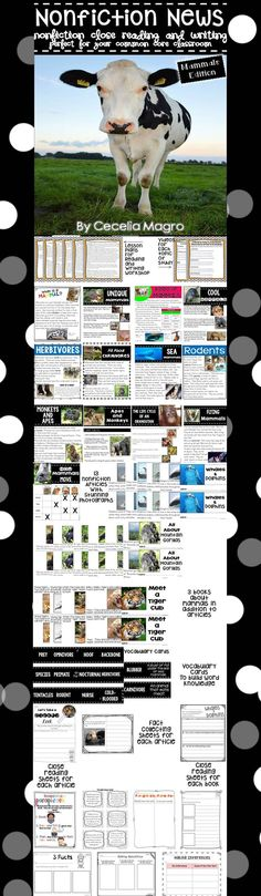 This 137 page product is what you need to implement ELA Common Core Standards in your classroom. It includes 13 nonfiction articles, 3 books, 1 chart for close reading on mammals. The nonfiction articles and books have stunning photographs and nonfiction text features.