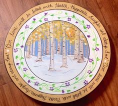 Lazy Susan Turntable Aspen Trees Columbine 15 By Paintingbymichele