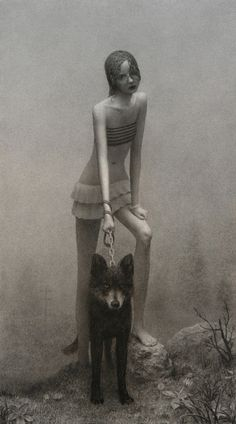 Girl with Dog :: Artist Aron Wiesenfeld