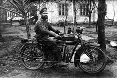 Russian soldier on an American Indian motorcycle, 1914-1916.