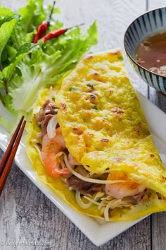 Vietnamese Crepe (Banh Xeo) is crispy, light and filled with shrimp, pork, and crunchy vegetables. It is very quick and easy to make. Serve it with fresh herbs and refreshing dipping sauce as a snack, appetizer or main dish.