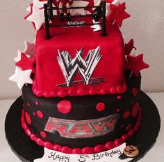 Two tier WWE wrestling cake!