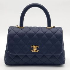 9548587a04147f Tried on once Chanel Coco Handle Mini Navy Blue Caviar Antique Gold Hardware