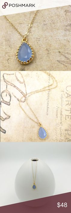 """Ice blue glass gemstone teardrop gold necklace Made to order. Dainty pendant size is 15mm*9mm. Beautiful faceted ice blue glass gemstone in gold plated casing is floating on a sparkly 14k gold filled chain which will not tarnish or turn! Choose length from 16""""-18"""". Very feminine and elegant. Also available in purple. Please check my closet for more high quality handmade pieces 💖💖 Jewelry Necklaces"""