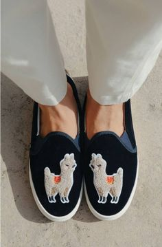 An adorable llama graces the top of these playful platform sneakers that deliver everyday comfort.