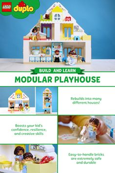 Introducing the LEGO DUPLO Modular Playhouse. Through easy-to-handle bricks and familiar characters, preschoolers can boost their creative and motor skills as well as learn about mealtime and bedtime routines - all through open-ended, role-playing fun! The set is made with extremely durable and safe bricks that can be rebuilt into many different houses. Talk about a dream property! #LEGODUPLO #dollhouse #playhouse #play #ideas #playandlearn #toy #preschool #toddler #construction #house
