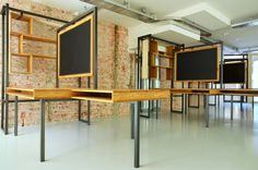 Hetburo office by Con Fetti Rotterdam   I adore the idea of workspaces similar to this with chalkboards/blackboards for neon markers.