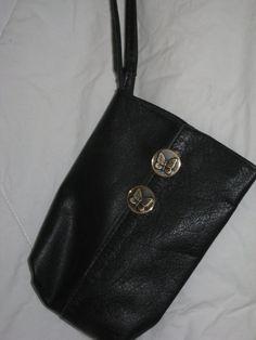 Upcycled black leather phone wristlet