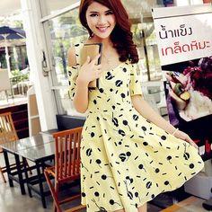 New Summer Womens Hollow Shoulder Dot Printed Short Sleeve Chiffon Mini Dress