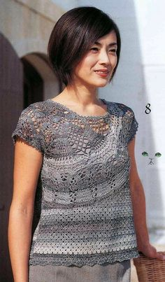 Free crochet pattern top blouse shirt tons of amazing patterns all in Japanese and with charts.