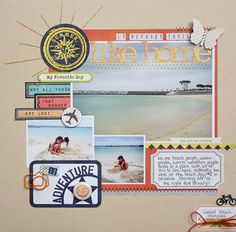Multi Photo Challenge with Christa Paustenbaugh Beach Scrapbook Layouts, Travel Scrapbook Pages, Photo Album Scrapbooking, Scrapbook Sketches, Scrapbooking Layouts, Scrapbook Cards, Digital Scrapbooking, Scrapbook Photos, Multi Photo