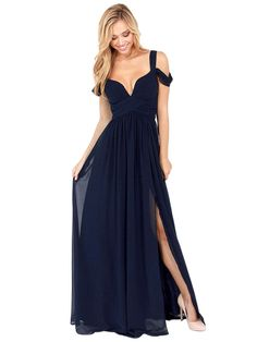 Cold Shoulder Wrap Maxi Prom Dress in Navy | Persunmall