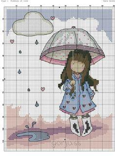 Risultati immagini per esquema punto de cruz Gorjuss Puddles of love Cross Stitch For Kids, Cross Stitch Baby, Cross Stitch Charts, Cross Stitch Designs, Cross Stitching, Cross Stitch Embroidery, Stitch Doll, Cross Stitch Patterns, Little Girls