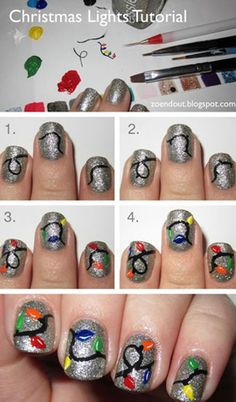 Cool DIY Nail Art Designs and Patterns for Christmas and Holidays -DIY Christmas Lights Nails - Do It Yourself Manicure Ideas With Christmas Trees, Candy Canes, Snowflakes and Glittery Designs for Holiday Nails - Step by Step Tutorials and Instructions Diy Christmas Nail Art, Holiday Nail Art, Christmas Nail Designs, Christmas Lights, Christmas Trees, Holiday Lights, Christmas Design, Christmas Holiday, Nail Art Diy