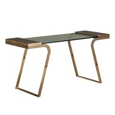 Brass and Glass Desk with Faux Malachite Sides
