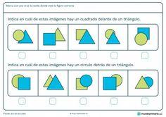 Ficha de indicar cuadrados, círculos y posición para primaria