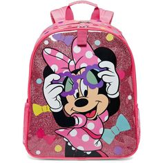 Disney Collection Minnie Mouse Backpack (14.100 CLP) ❤ liked on Polyvore featuring bags, backpacks, pink, disney backpack, padded backpack, pink mesh backpack, knapsack bags and pink bag